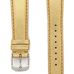 Michele 20mm Metallic Gold Leather Strap